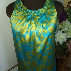 TRACY NEGOSIAN XS GREEN AND BLUE SILK SHIFT DRESS